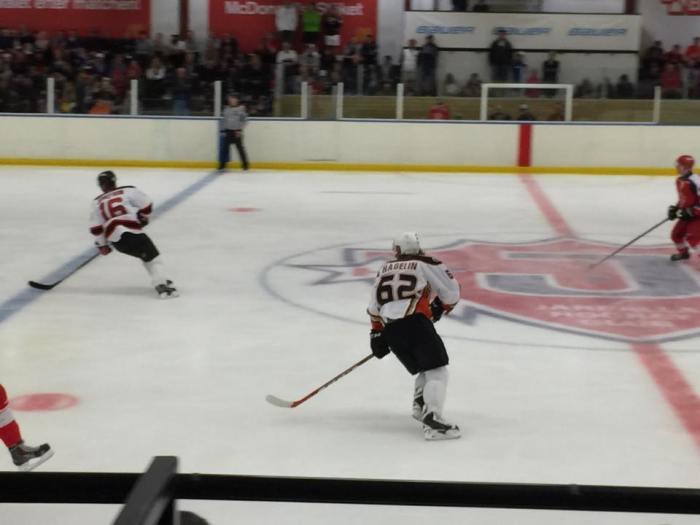 Hagelin again at center ice.